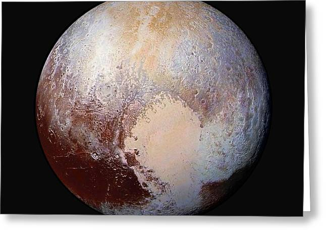 Pluto Dazzles In False Color - Square Crop Greeting Card by Nasa
