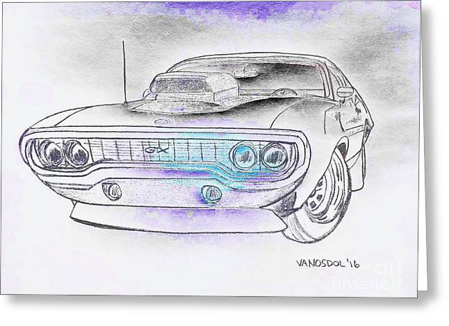 Plymouth Gtx American Muscle Car - Abstract Greeting Card by Scott D Van Osdol