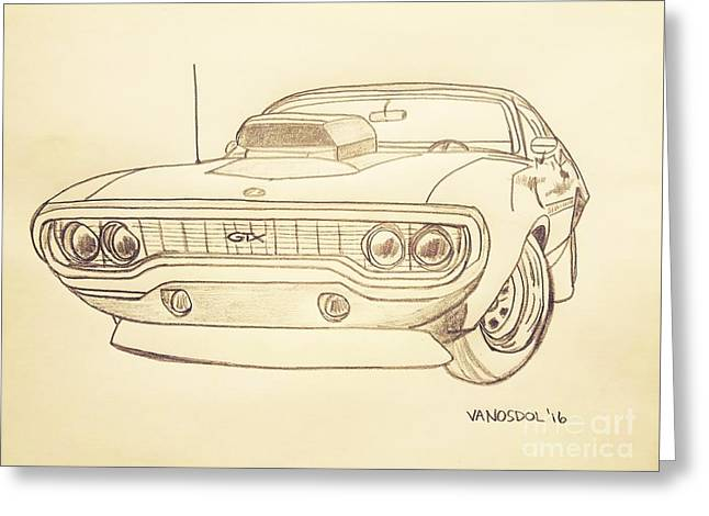 Plymouth Gtx American Muscle Car - Antique  Greeting Card by Scott D Van Osdol