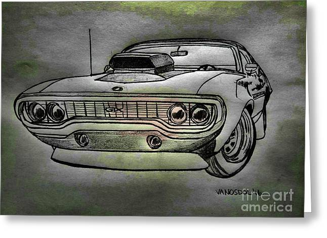 Plymouth Gtx American Muscle Car - Charcoal Background Greeting Card by Scott D Van Osdol