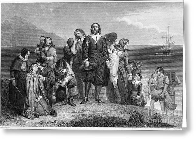 Colonists Greeting Cards - Plymouth Rock: Landing Greeting Card by Granger