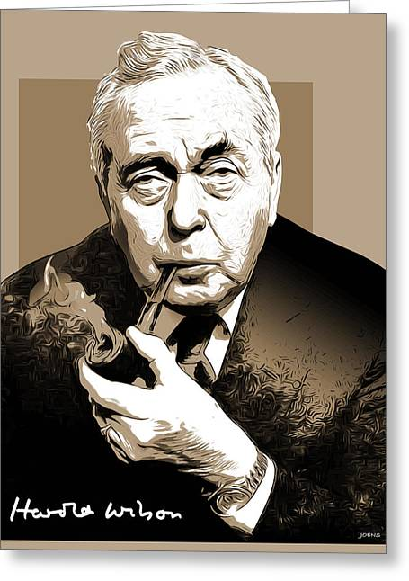 Pm Harold Wilson Greeting Card by Greg Joens