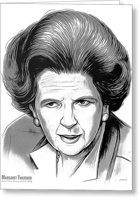 Pm Margaret Thatcher Greeting Card by Greg Joens