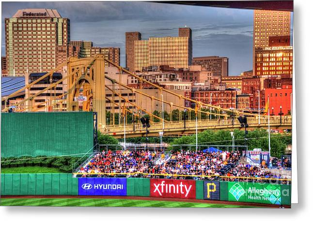 Pnc Park And Roberto Clemente Bridge Greeting Card