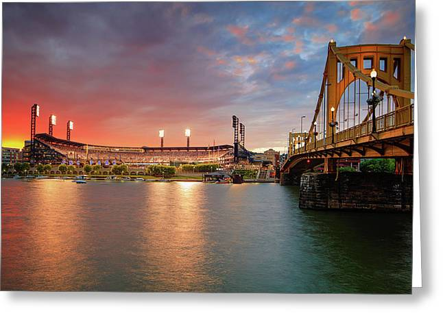 Pnc Park At Sunset Greeting Card by Emmanuel Panagiotakis