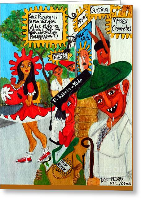 Greeting Card featuring the painting Pneumatic Girl At The Railroad Station by Don Pedro De Gracia