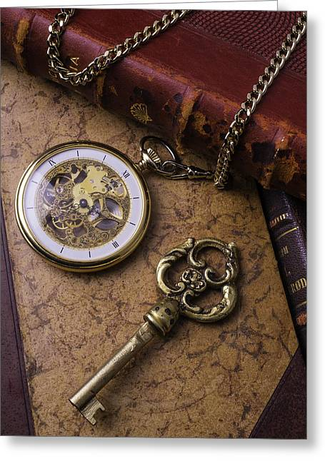 Pocket Watch And Old Key Greeting Card by Garry Gay