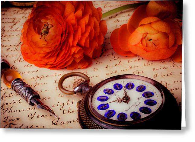 Pocket Watch And Ranunculus Greeting Card by Garry Gay
