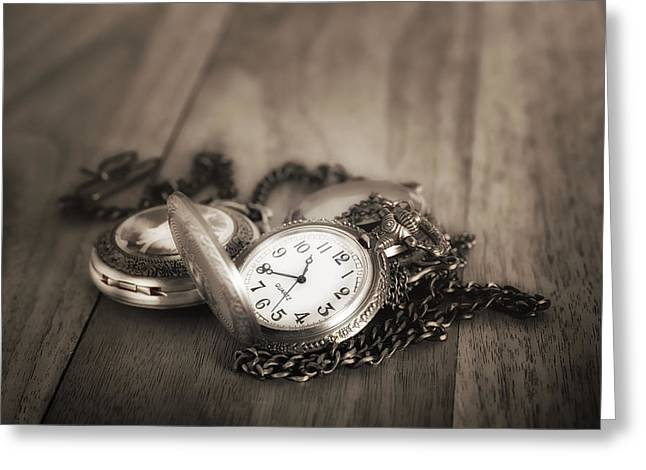 Pocket Watches Times Three Greeting Card by Tom Mc Nemar