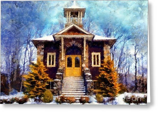 Poconos Country Church Greeting Card by Janine Riley