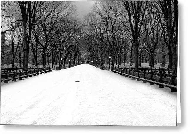 Poet's Walk In Snow Greeting Card by Mark Garbowski