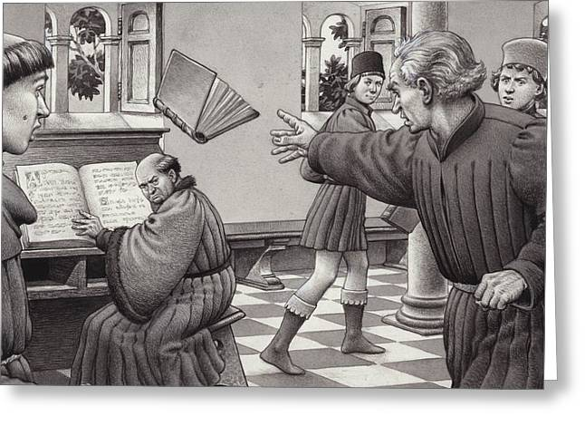 Poggio Bracciolini Throws A Book At A Fellow Scholar, Tortelli Greeting Card by Pat Nicolle
