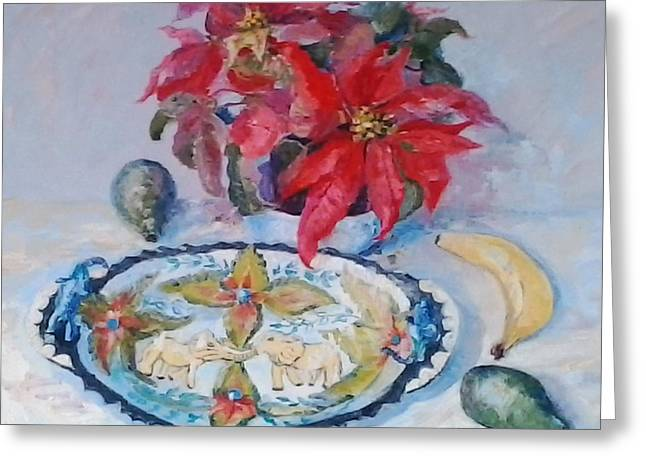 Poinsettia And Ardmore Dish Greeting Card