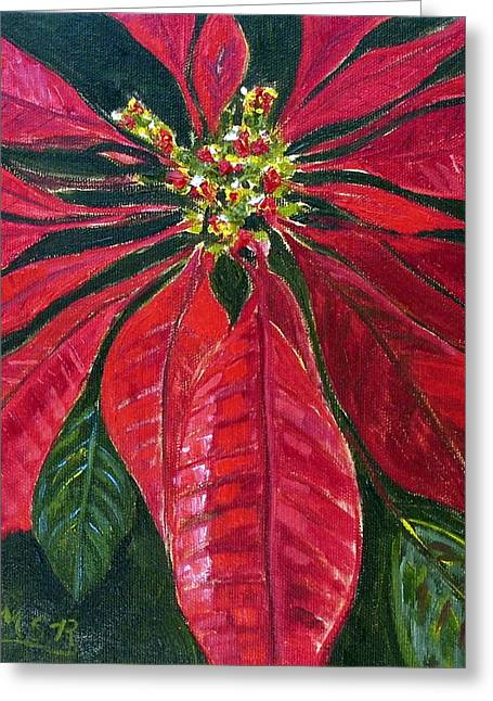 Poinsettia Closeup Greeting Card by Maria Soto Robbins