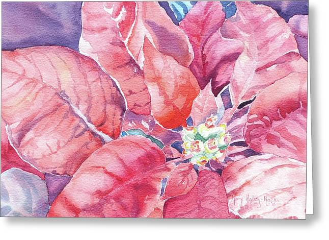 Greeting Card featuring the painting Poinsettia Glory by Mary Haley-Rocks