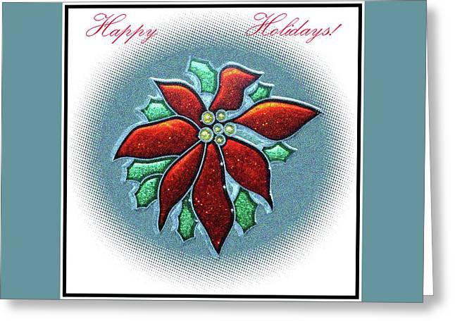 Greeting Card featuring the digital art Poinsettia Holiday by Ellen Barron O'Reilly
