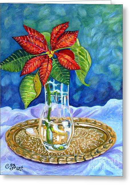 Poinsettia On Brass Tray Greeting Card