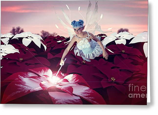 Greeting Card featuring the digital art Poinsettia Snow Fairy by Methune Hively