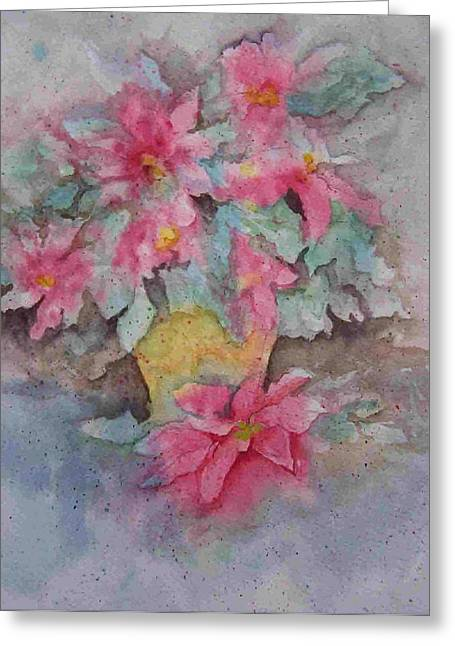 Poinsettias II Greeting Card by Sandy Collier