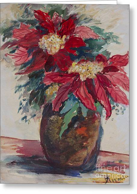 Poinsettias In A Brown Vase Greeting Card