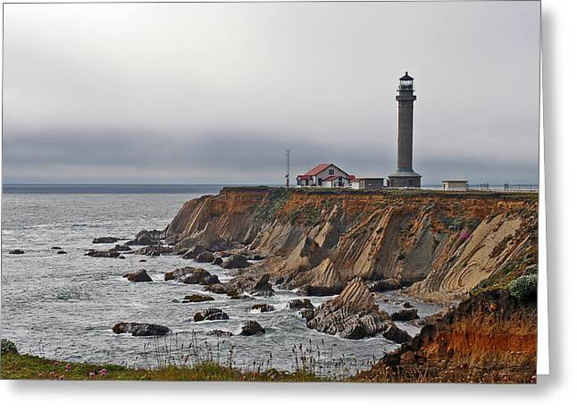 Foggy. Mist Greeting Cards - Point Arena Lighthouse CA Greeting Card by Christine Till