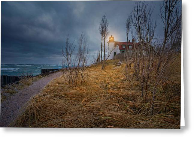Greeting Card featuring the photograph Point Betsie Lighthouse In Frost by Thomas Gaitley