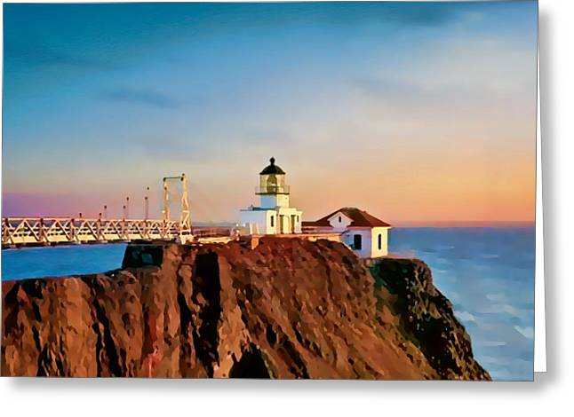 Greeting Card featuring the painting Point Bonita Lighthouse by Douglas MooreZart