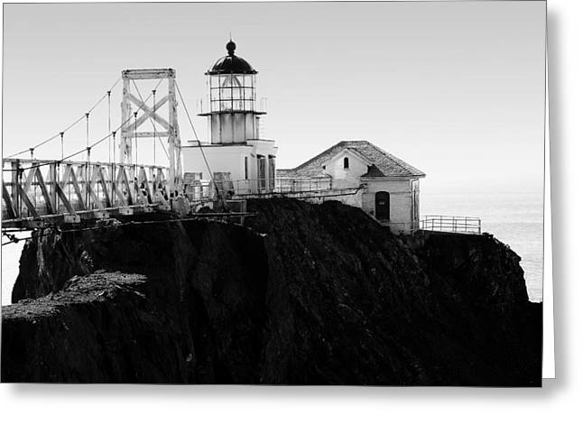 Point Bonita Lighthouse In The Marin Headlands . Black And White Greeting Card by Wingsdomain Art and Photography