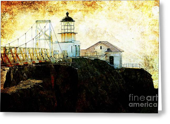 Point Bonitas Lighthouse . Texture Greeting Card by Wingsdomain Art and Photography