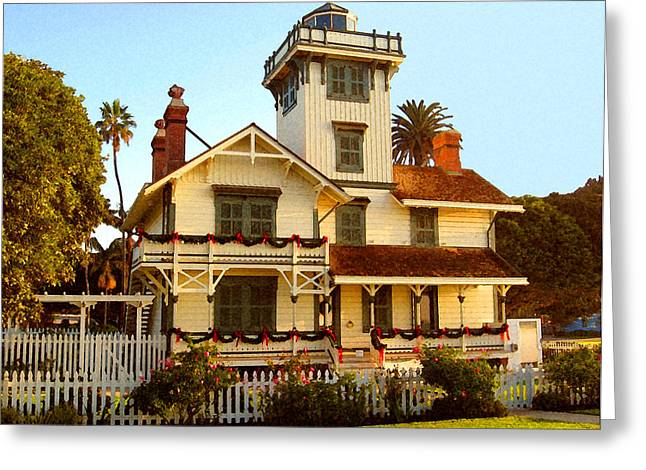 Greeting Card featuring the digital art Point Fermin Lighthouse II by Timothy Bulone