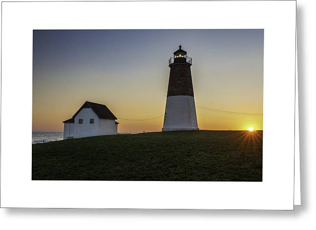 Point Judith Light At Sunset Greeting Card