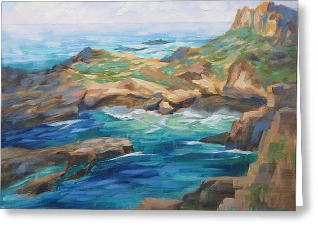 Point Lobos Cove Greeting Card by Karin Leonard