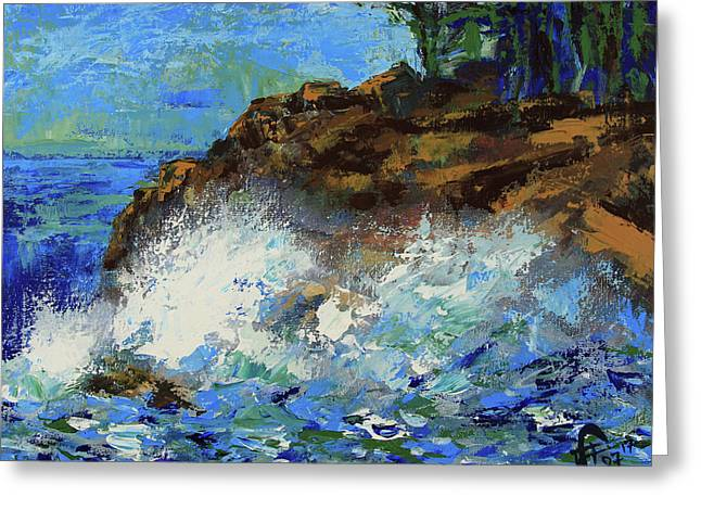 Greeting Card featuring the painting Point Lobos Crashing Waves by Walter Fahmy