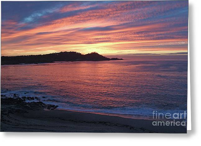 Point Lobos Red Sunset Greeting Card by Charlene Mitchell