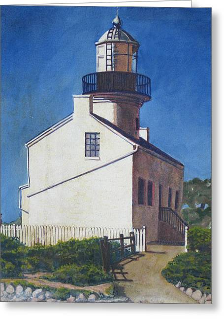 Point Loma Lighthouse Greeting Card by D T LaVercombe