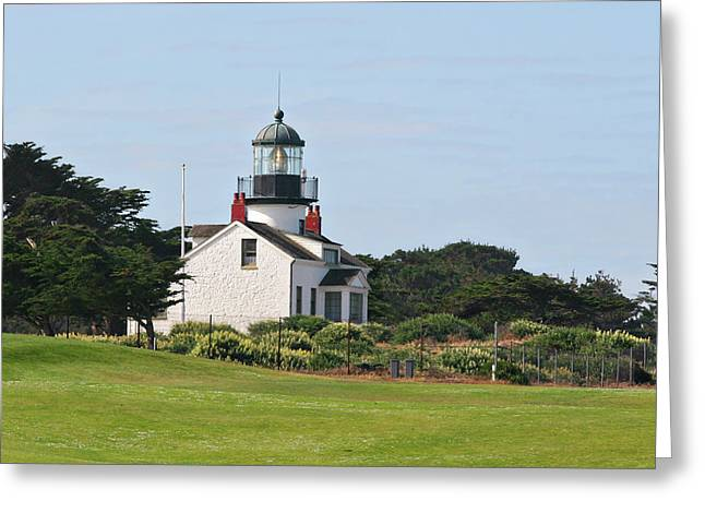Golf Design Greeting Cards - Point Pinos Light - Lighthouse on the golf course - Pacific Grove Monterey Central CA Greeting Card by Christine Till