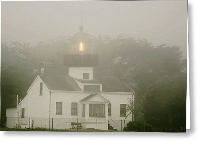 Course Greeting Cards - Point Pinos Lighthouse in a foggy night - Pacific Grove Monterey Central CA Greeting Card by Christine Till