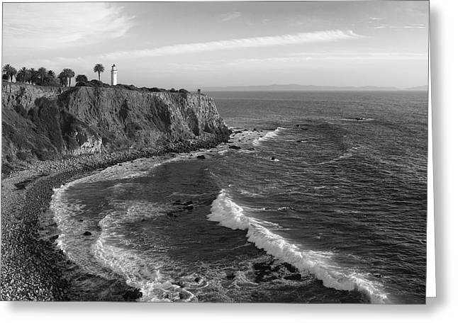 Point Vicente Lighthouse Palos Verdes California - Black And White Greeting Card