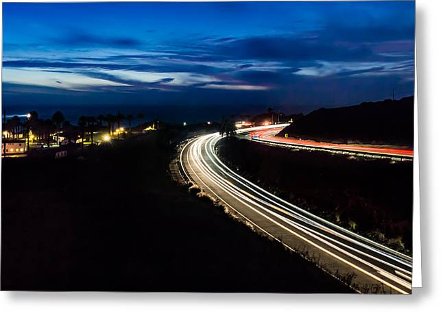 Point Vincente Light Trails Greeting Card