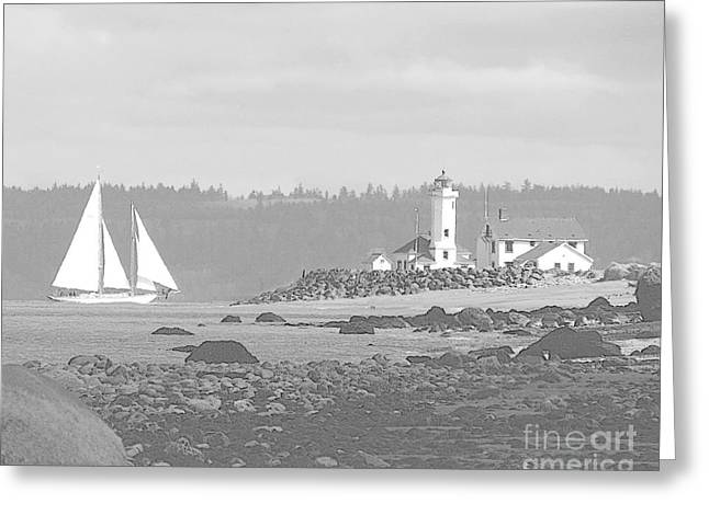 Point Wilson Lighthouse And Sailboat Greeting Card
