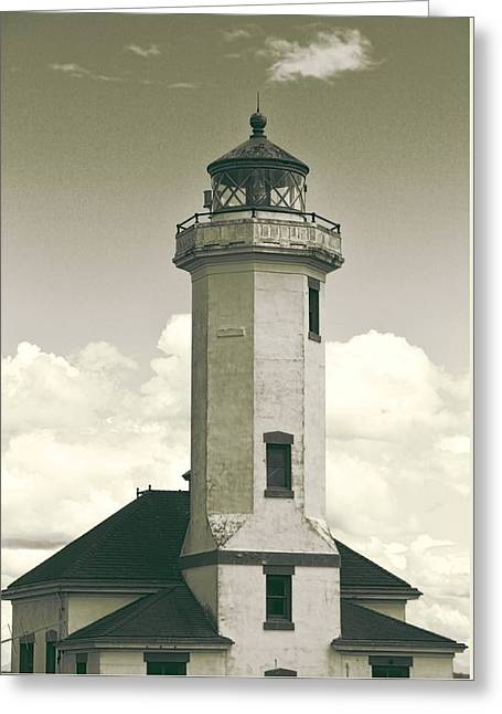 Point Wilson Lighthouse Sepia Greeting Card by Dan Sproul