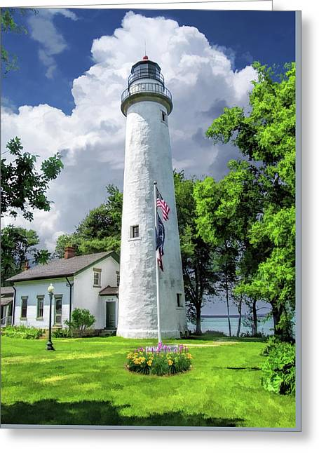 Greeting Card featuring the painting Pointe Aux Barques Lighthouse by Christopher Arndt