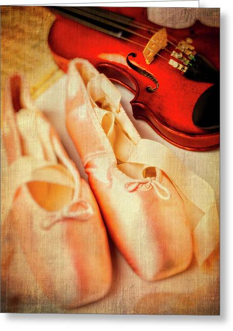 Pointe Shoes And Violin Greeting Card by Garry Gay
