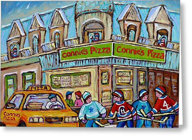 Pointe St Charles Paintings Hockey Game At Connie's Pizza With Yellow Delivery Cab Montreal Art Greeting Card by Carole Spandau