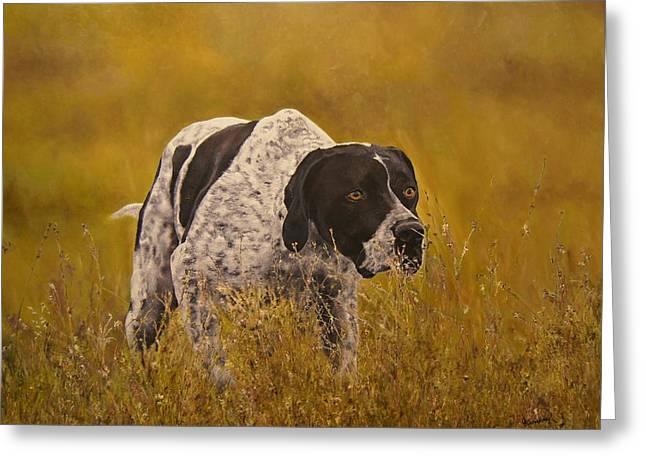 Pointer...to The Point....... Greeting Card by Erna Goudbeek