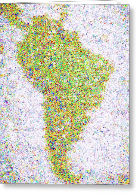 Pointillism World Map - South America Greeting Card by Steve Ohlsen