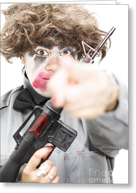 Pointing Crazed Lunatic Greeting Card by Jorgo Photography - Wall Art Gallery