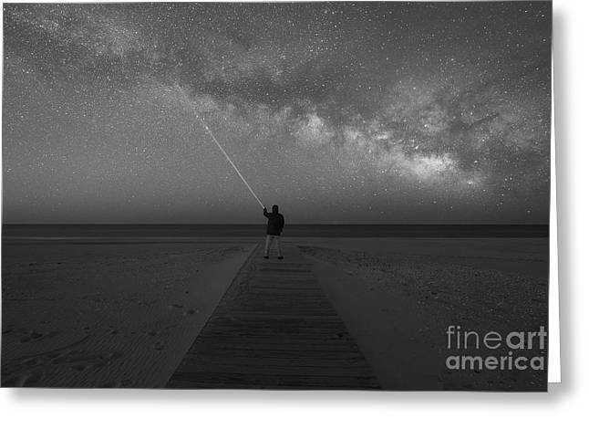 Pointing To The Stars Bw Greeting Card by Michael Ver Sprill
