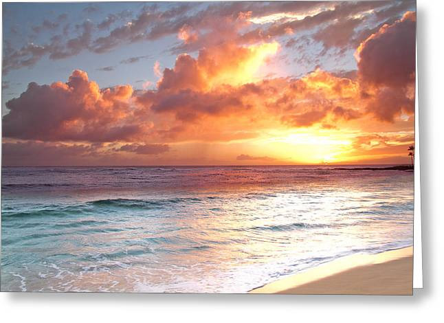 Poipu Beach Sunset Greeting Card by Roger Mullenhour