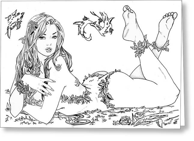 Poison Ivy - Grayscale Greeting Card by Bill Richards